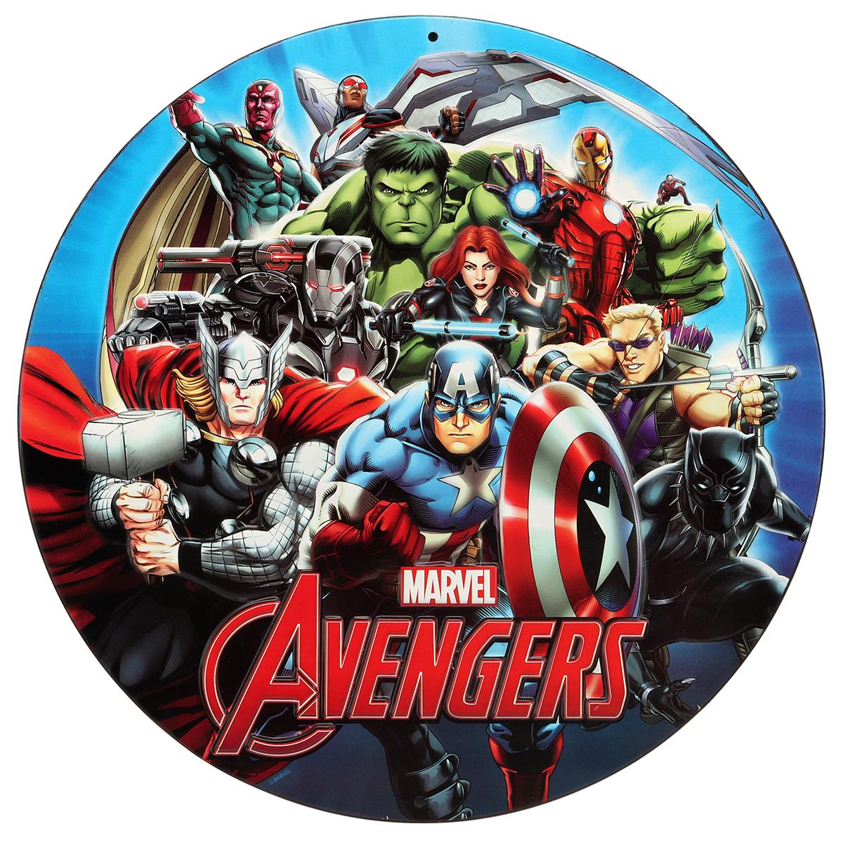 Avengers round embossed tin sign ebay - Heros avengers ...